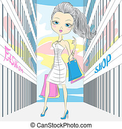 Vector beautiful fashionable girl shopping - beautiful...