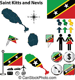 Map of Saint Kitts and Nevis - Vector of Saint Kitts and...
