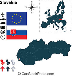 Map of Slovakia with European Union