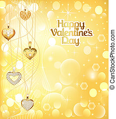 illustration of a postcard on Valentines day with pendants hearts chain of gold color