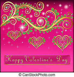 illustration pink postcard on Valentines day with pendants hearts chain of gold color