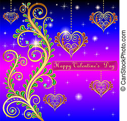 illustration blue postcard on Valentines day with pendants hearts chain of gold color