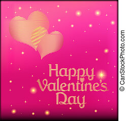 pink postcard on Valentine's day with the heart of gold color