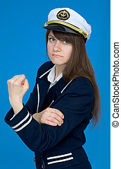 Captain with emotional gesture - The captain of a female...