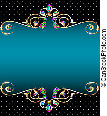 background frame with jewels of gold ornaments -...