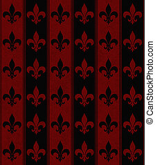 Black and Red Fleur De Lis Textured Fabric Background that...