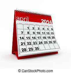 April 2014 calendar on white background