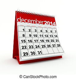 December 2014 calendar on white background