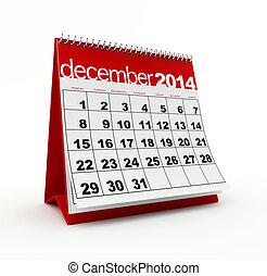 December 2014 calendar on white background