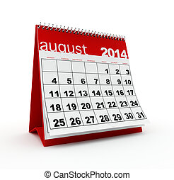 August 2014 calendar on white background.