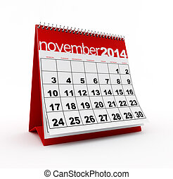 November 2014 calendar on white background. 3d rendered...
