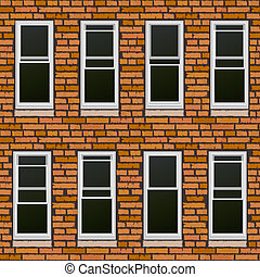 Seamless brick wall withl windows - Seamless vector...