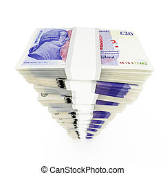 British pound stack - Twenty british pound stack on white...