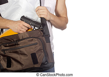 Student with gun - Student hides gun in a bag. Crime.