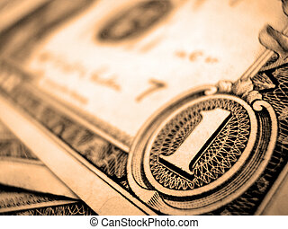 one dollar - The American dollar. A fragment of a banknote...