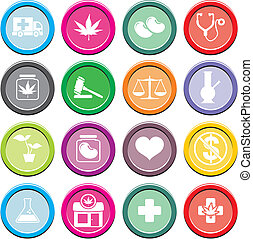 Medicinal Marijuana round icon sets - suitable for user...