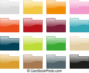 Folder icon collection - Set of 16 folder icons in different...