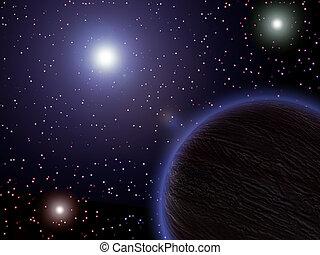 espaço, planetas, estrelas