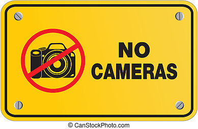 no camera yellow sign - rectangle - suitable for warning...