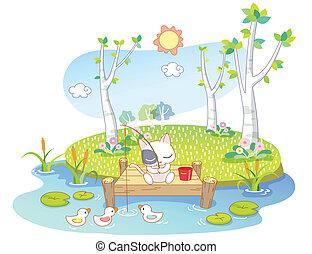 cute cat were fishing on the island - cute cat cartoon were...