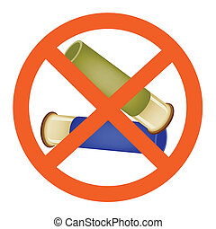 Two Bullets and The Forbidden Sign on White Background - Two...