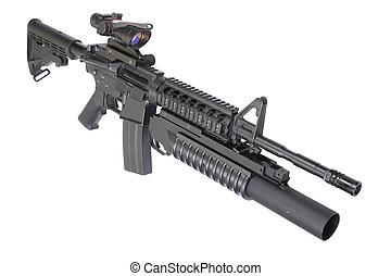assalto, rifle, M203, granada, lançador