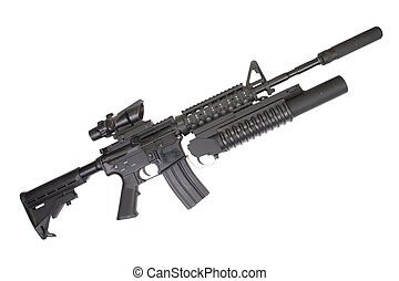 assault rifle with an M203 grenade launcher