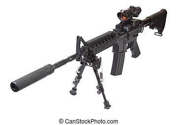 assalto, rifle, bipod, silenciador, isolado, branca, fundo