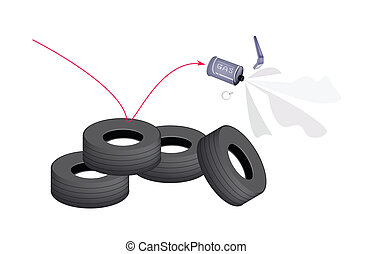 A Tear Gas Grenade on Tire Barrier - Illustration of A Tear...