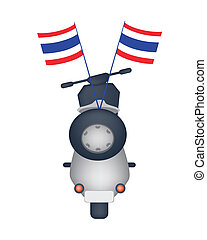 Motorbike with Thai Flag on White Background - An...