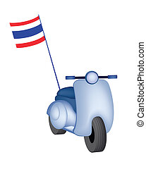 Vintage Scooter with Thai Flag on White Background - An...
