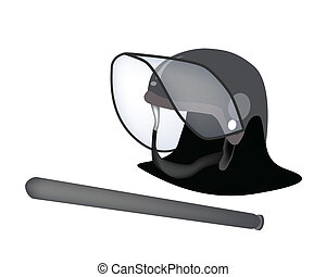 Police Helmet and Nightstick on White Background - Security...