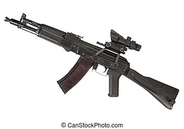 modern assault kalashnikov rifle on white