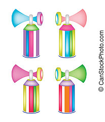 Set of Colorful Air Horn on Whit Background - An...