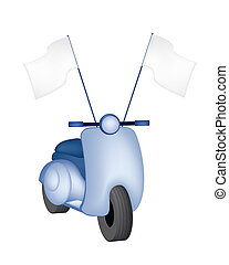 Vintage Scooter with Blank Flag on White Background - An...