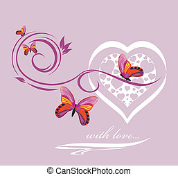 Stylish heart with butterflies. Background to the Valentines...