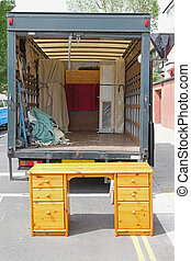 Moving truck - Open rear end of moving furniture truck