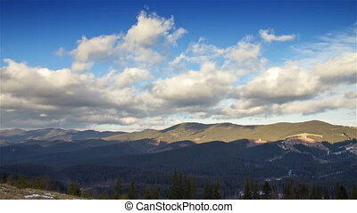Mountains with clouds time lapse - Mountains with running...