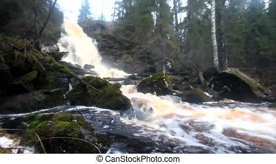 waterfall mini - waterfall in autumn among rocks
