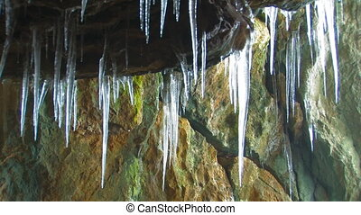 Icicles in cave