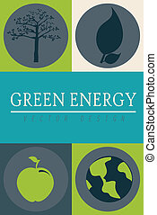 green energy icons background vector illustration