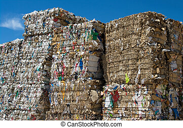 Stacked paper cubes - Stacked paper bales for recycling