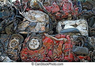 Smashed cars - Cubes of crushed cars for metal recycling
