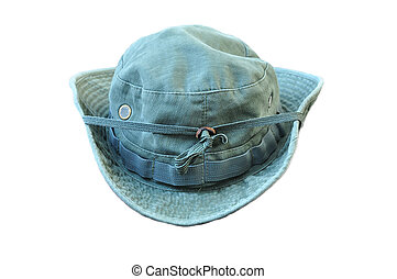 Military Boonie Hat - Green military boonie hat on white...