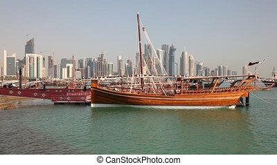 Traditional dhows in Doha. Qatar - Traditional arabic dhows...