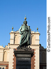 Cracow - the sculpture of Adam Mickiewicz on the main square...