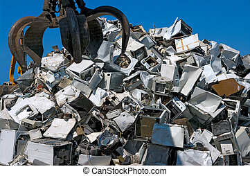 Recycling appliances - A pile of old appliances for metal...