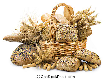 Basket with a bread assortment isolated on white - Still...