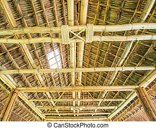 The construction traditional thailand roof from bamboo and...