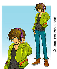 boy with headphones - teenage boy wearing headphones